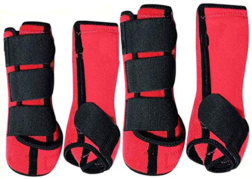 SKYCY Brushing Boot Horse Stable Neoprene Travel Boots Leg Protection Wrap Black - Set of 4 Leg Wraps Safe Direct Contact Treats Sprains Bites Non Slip