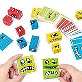 Juego educativo de madera de emoji Montessori para niños a partir de 3 años, 12 bloques de construcción, 50 cartas de emoji
