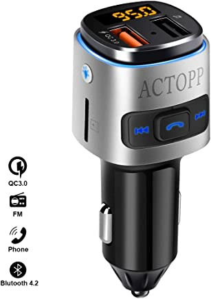 ACTOPP FM Bluetooth Transmitter for Car QC3.0 Quick Charger with 2 USB Ports Colour Changing Light Wireless FM Radio Transmitter Car Radio Adapter with Hands-Free System iOS and Android Devices