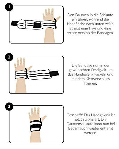 Handgelenkbandage [2er Set] Wrist Wraps 45 cm – Profi Bandagen für Kraftsport, Bodybuilding, Powerlifting, CrossFit & Fitness – Schwarz / Grau - 7