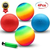 Playground Balls, 8.5 Inch Dodgeball Kickball for Kids Adults Outdoor Four Square Handball Game with Hand Pump...
