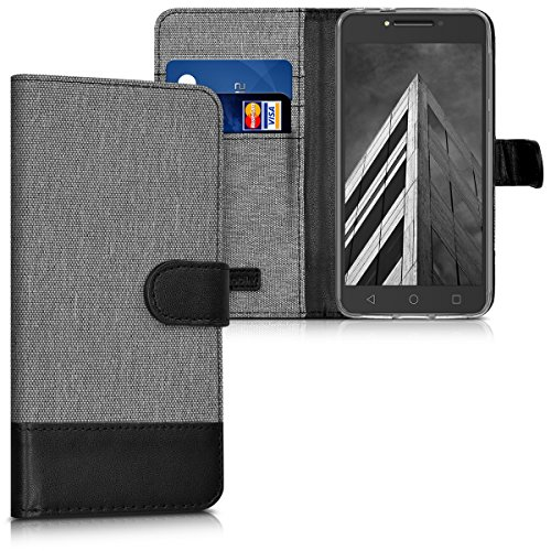 kwmobile Alcatel A5 LED Hülle - Kunstleder Wallet Case für Alcatel A5 LED mit Kartenfächern & Stand - Grau Schwarz