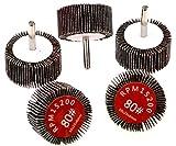 5 piezas de aleta de disco abrasivo de rueda de lijado de discos de lija de grano 80, 50 mm de diámetro, 6 mm de vástago para taladro