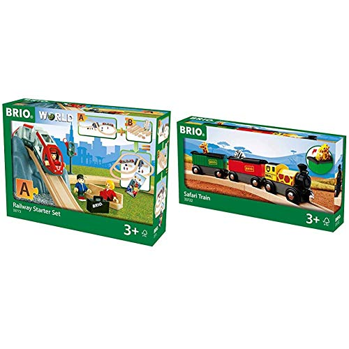 BRIO World - 33773 Railway Starter Set | 26 Piece Toy Train with Accessories and Wooden Tracks for Kids Age 3 and Up & World - 33722 Safari Train | 3 Piece Toy Train Accessory for Kids Age 3 and Up