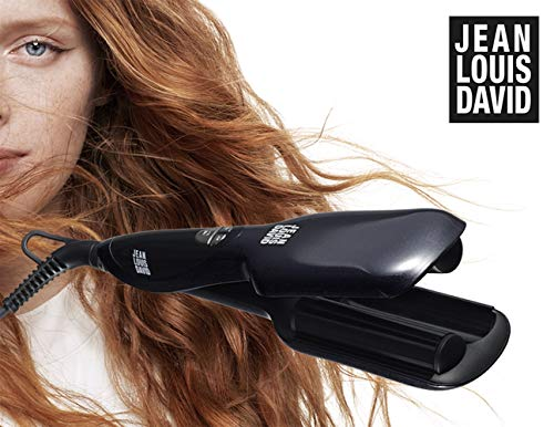 Jean Louis David Perfect Waver - Plancha de Pelo de Cerámica para Ondas Anchas, Estrechas y Suaves, Efecto Natural, Rizador de Pelo Profesional, Temperatura de 120 ° a 200 °, 70 W - Negro