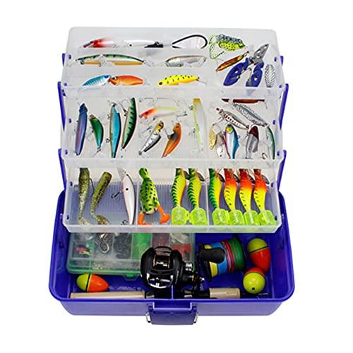 SuDeLLong Caja de Aparejos de Pesca Caja de Tackle y Almacenamiento de Cebo Cajas de Aparejos de Pesca Fishing Lure Box Organizer Pesca Bait Funda de Almacenamiento (Color : Azul, Size : 36x20x21cm)