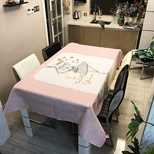 Nappe Imperméable en Polyester Simple Moderne Série De Lapin Tapis De Table d'impression Numérique Nappe De Personnalité Rectangulaire
