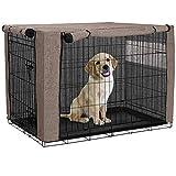 chengsan Cubierta de cajón para perro, duradera y resistente al viento, cubierta de perrera de mascotas para caja de alambre, protección interior y exterior (36 pulgadas, caqui)