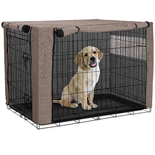 Chengsan - Funda para jaula de perro, duradera a prueba de viento para mascotas, cubierta para jaula de alambre para protección interior y exterior (36 pulgadas, caqui)