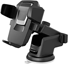 Universal Windshield Car Mount Holder, XSPUS Car Mount Upgrade 210°+360°Rotation Dashboard Holder Compatible with iPhone X 8 7 6S Plus 5S 4S, Galaxy S9 S8 S7 Note 9/8/5 (Black+Sliver)