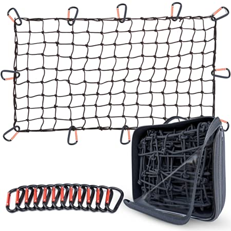 Grit Performance Cargo Net for Pickup Truck Bed - 4 x 6 Foot, Heavy-Duty, Mesh Square Bungee Netting with 12 Black Clips and Storage Bag - Holds Small and Large Loads