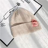 Sombrero de Invierno Universidad código de Barras Etiqueta de Tela Moda Sombrero de Lana Mujeres otoño e Invierno cálido Tejido frío Sombrero Hombres Pareja-H-M 56-58cm
