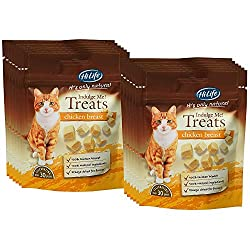 100% Chicken Breast - Nothing added or taken away! Totally healthy and natural - No preservatives, no additivies, just 100% Breast Meat Cats find these irresistible - Even fussy cats will adore them Hand Prepared and gently freeze-dried Light, bite-s...