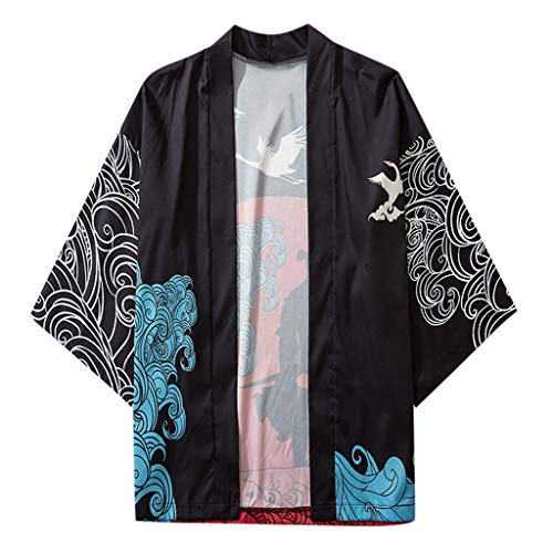 Yowablo Jacke Top Blouse Summer Japanese Five Point Sleeves Kimono Mens Womens Cloak (XL,1Noir)