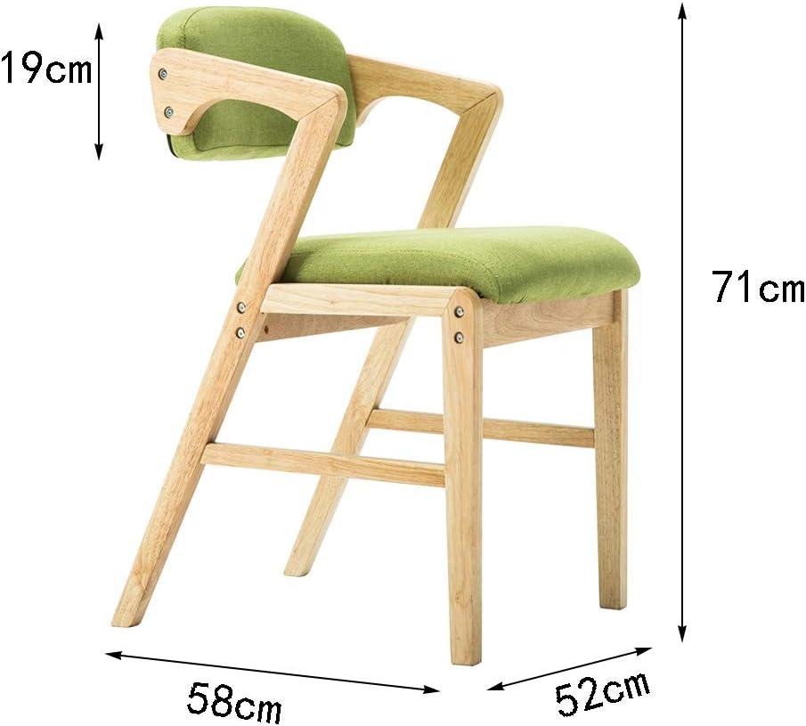 Chaise de bar en bois massif dinant la chaise café chaise de salon (Couleur : Green - fabric) Black - Pu