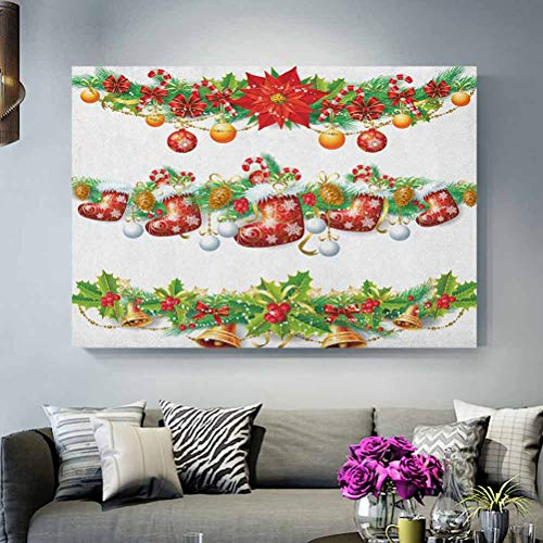 ScottDecor Christmas Wall Decor for Living Room No Frame Traditional Garland Designs with Flowers Socks and Bells Mistletoe Candy Gifts Under 15 Dollars Orange Red Green L36 x H24 Inch