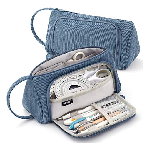Estuche para lápices, 8' x 4', gran capacidad para lápices, bolsa de almacenamiento de alta capacidad, caja de papelería para oficina escolar (azul)
