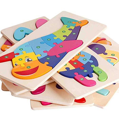 ZHIZI Juguetes para primera infancia Puzzles de madera, 12 rompecabezas educativos tempranos, populares entre niños y niñas de 1, 2 y 3