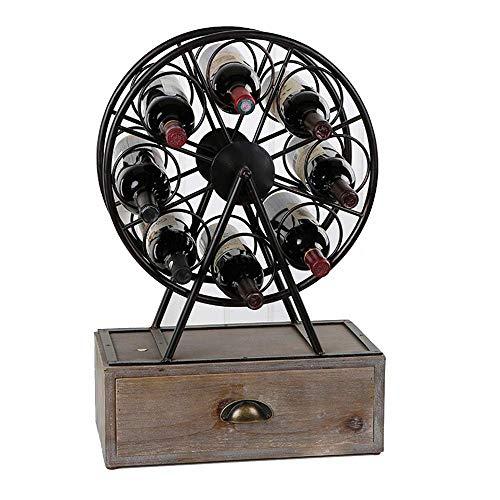 IREANJ Estante de vino de metal para vino, enfriador de vino se puede apilar con decoración del hogar, moderno y minimalista estante de vino (color: negro, tamaño: 43 x 65 x 19 cm)