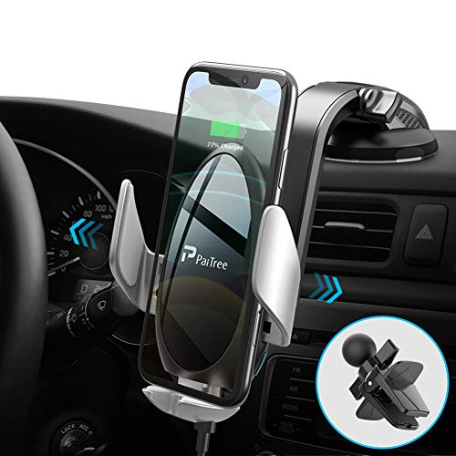 PaiTree Wireless Charger Auto, Automatisches Spannen Kabelloses Auto Ladegerät mit Hülle Qi Ladestation Kabelloses Auto Ladegerät für Samsung Galaxy S10/S10+/S9,Apple iPhone 11 Pro Max/XS/XR/X/8 Plus