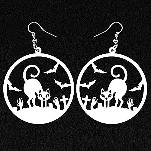 XQAQW Pendientes de acrílico para Halloween Gran círculo Redondo Hueco Negro Gato Murciélago Zombie Mano Cruz Drop Accesorio de Fiesta para Mujeres y niñas-Blanco