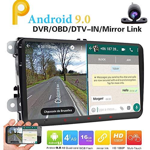 Doppia 2DIN autoradio per VW Volkswagen Android 9.0 GPS 9inch 2GB RAM autoradio con di navigazione FM AM Autoradio Bluetooth Dash HD 1080P Car Audio Player + Camera + GPS Map Carta