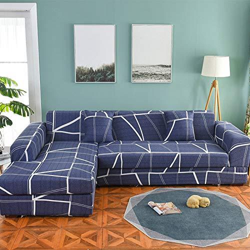 ASCV Juego de Fundas de sofá Funda de sofá geométrica Funda de sofá elástica para Sala de Estar Esquina de Mascotas en Forma de L Chaise Longue Funda de sofá A8 4 plazas