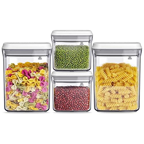 ANVAVA 500 ml + 1500 ml, juego de 4 recipientes con apertura de clic, apilables con tapa para un almacenamiento hermético de alimentos, plástico (SAN), sin BPA, certificación LFGB.