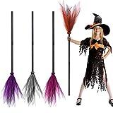 FEPITO 4 Stück Halloween Hexe Besen Böse Hexe Kostüm Zubehör Hexe Dekorationen Besenstiel für Halloween Kostüme Party
