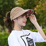 WANJIA Moda Anti-UV Sunscreen Cooling Air Sun Hat, Ladies Empty Top Sun Hat Gran Visera de ala Sombrero de Viaje de Verano Plegable Roll Up Beach Cap,C