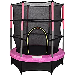Fantastic trampoline to bring much fun & enjoyment. Enclosure is made from UV resistant PE mesh and features an easy entry Zipper enclosure. With padded cushion & foam for safety and comfy ; EN-71, CE Approved. Diameter: 4.5ft (about 1.4m) ; Safety N...