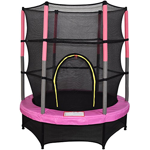 Greenbay 4.5FT 55' Outdoor Junior Trampoline Set with Enclosure Safety Net and Skirt Pink