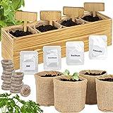 ONVAYA® Kit de Cultivo de Hierbas con Caja de Madera | Kit de Cultivo | Mini jardín de Hierbas | Juego de jardín de Hierbas con Semillas de albahaca, cebollino, perejil y eneldo