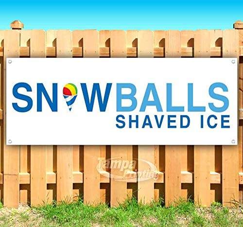 Snowballs Shaved NEW before selling Ranking TOP4 Ice 13 oz Banner Viny Non-Fabric Heavy-Duty