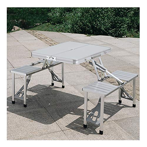 WGXYQ Folding Camping Table Quick Fold Suitcase Size Load-bearing 150kg Aluminum Alloy Three Colors 85.5x67x67cm Suitable For Indoor And Outdoor Camping (Color : Gris)