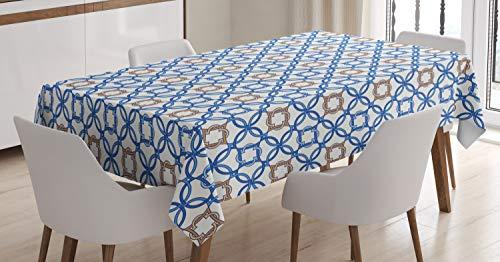 ABAKUHAUS Quatrefoil Tafelkleed, Delfts Blauw, Eetkamer Keuken Rechthoekige tafelkleed, 140 x 170 cm, Pale Bruin Blauw Wit