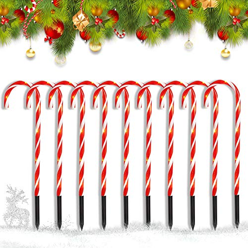 ZHUPIG Candy Cane Lights, Christmas Candy Cane Pathway Lights Set of 10 Outdoor Christmas Decorations Lights, Waterproof for Christmas Outdoor Walkway Pathway Lighting with 8 Working Modes
