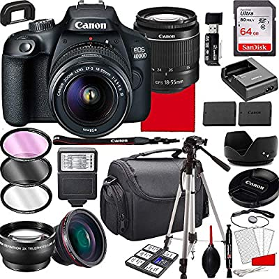 Canon EOS 4000D DSLR Camera with 18-55mm f/3.5-5.6 Zoom Lens, 64GB Memory,Case, Tripod and More (28pc Bundle) from Canon intl