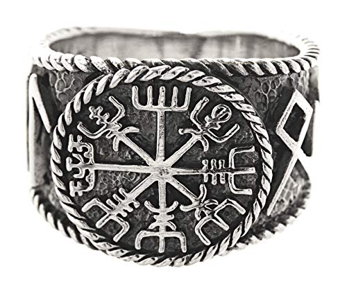 Kiss of Leather Ring Wikingerkompass Vegvisir aus 925 Sterling Silber, Gr. 54-74 (60 (19.1))