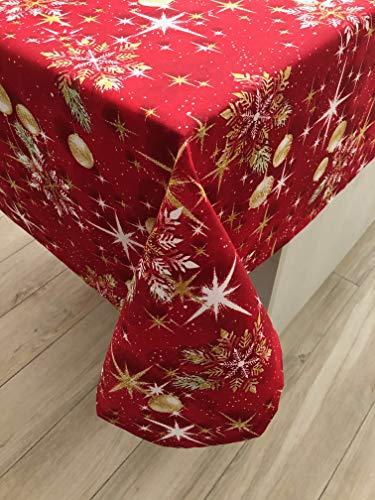 1KDreams Tovaglia Natalizia. Sfondo Rosso Palline Stelle e Foglie Oro. Design Classico in Chiave Moderna. (130x180 cm)
