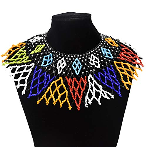 Multicolor African Necklace| African Jewelry| Zulu Beaded Bib Necklace| South African Statement Necklace| Maasai Necklace| Sister Gifts| (Color B)