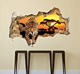 Safari Wall Decals Tier Leopard Decals 3D-Effekt Wandbild