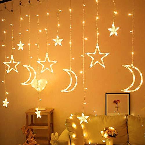 Nakeey LED Sternenlichterkette 3.5M Leuchtioden Lichtervorhang Sternenvorhang 8 Modi Innen & Außenlichterkette Dekoration für Weihnachten Deko Party Festen, Warmweiß