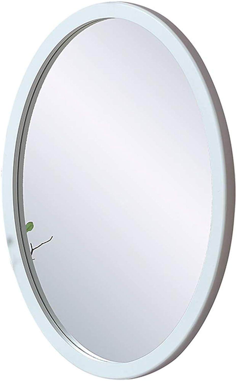 Wall Mirror Oval Wood Frame, Bathroom Mirror Wall Hanging Decorative Vanity Mirror Shaving Mirror Modern Style - White