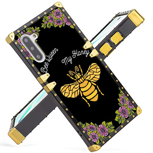 Samsung Galaxy Note 10 Case 2019 Release Luxury Floral Golden Bee Square Soft TPU Wrapped Edges and Hard PC Back Stylish Classic Retro Cover