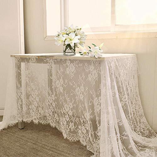 EDCV Tafelkleed Doek Textiel Bruiloft Hotel Home Decor 150 * 300cm Wit Vintage Tafelkleed Kant Decoratief Tafelkleed Dineren