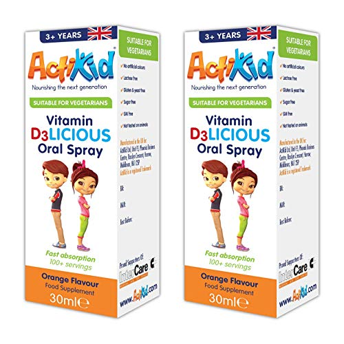 2X ActiKid Vitamin D3LICIOUS Oral Spray 30ml Orange Flavour | Sugar Free for Children | Fast Absorption | Vegetarian | Immunity Booster