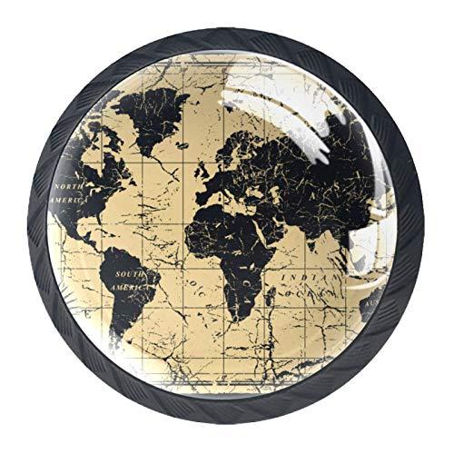 Xingruyun Manopole per mobili Bussola della Mappa del Vecchio Mondo retrò Pomelli Vetro Cristallo Pomelli Cassetti Mobili Armadio Comodino Pomelli per Cucina Camere 4 Pezzi,Rotondo 3.5x2.8cm