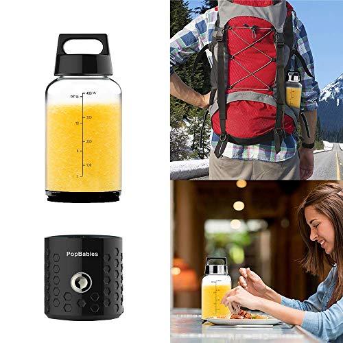 PopBabies Personal Smoothie Blender, Portable Blender, Battery Powered USB Blender to go Black