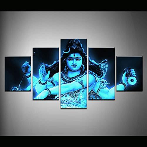5 Piece Canvas Impresión Decoración Del Hogar Decoración De La Habitación India Dios Tibetano Shiva Pintura Nobita Póster Arte De Pared Sin Marco